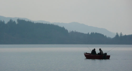 Fishing in the early light on Loch Awe