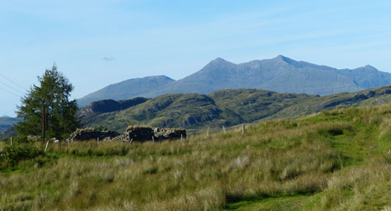 Old ruin above Barr-beithe with Ben Cruachan behind