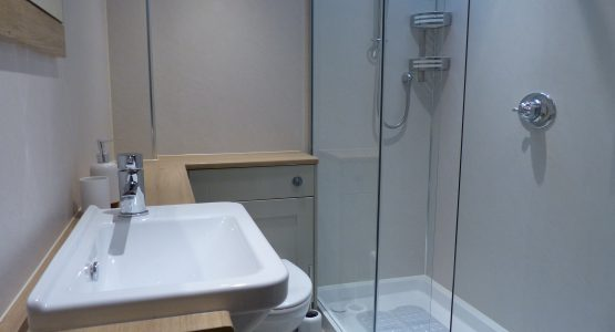 Shower, wc and washhand basin