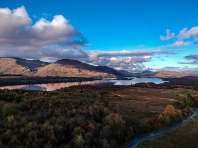 A loch and mountains in autumn colour